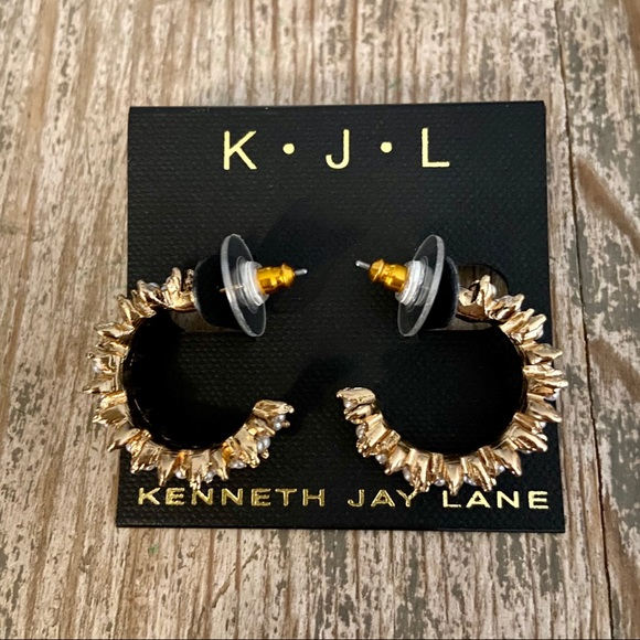 KENNETH JAY LANE faux pearl crystal hoop earrings
